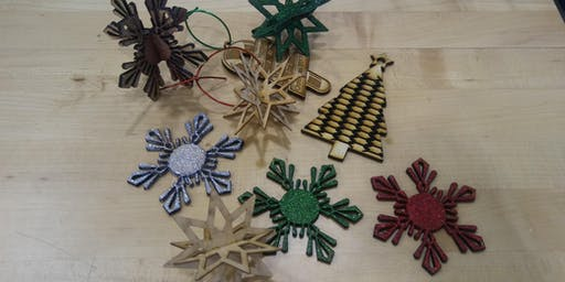 Create Your Own set of 3D Wooden Christmas Ornaments, laser, holiday