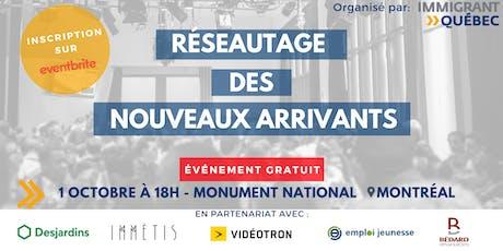 """Réseautage de bienvenue """"nouveaux arrivants à Montréal"""" - Mardi 1er Octobre tickets"""
