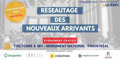 """Réseautage de bienvenue """"nouveaux arrivants à Montréal"""" - Mardi 1er Octobre"""