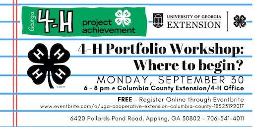 4-H Portfolio Workshop- Where to begin? (Grades 7-12/ FREE)