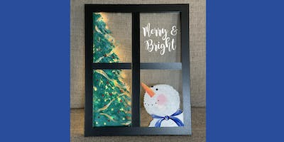 Painted Snowman window with Lights - Create and Sip Party Art Maker Class