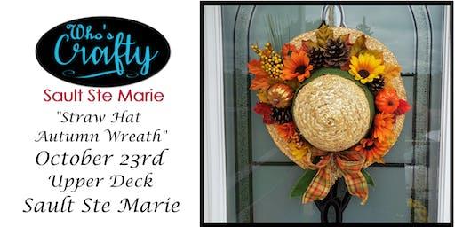 Who's Crafty SSM - Straw Hat Autumn Wreath - Upper Deck
