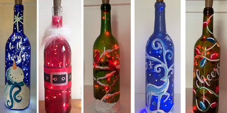 Christmas Wine Bottle Lamps - Create and Sip Party Art Maker Class tickets