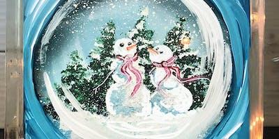 Snowman Snow Globe Glass Block  - Create and Paint Sip Party Art Maker Class