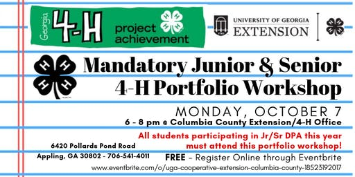 Mandatory Jr/Sr 4-H Portfolio Workshop (Grades 7-12/ FREE)