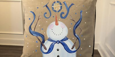 Snowman Painted Pillow Cover  - Create and Paint Sip Party Art Maker Class