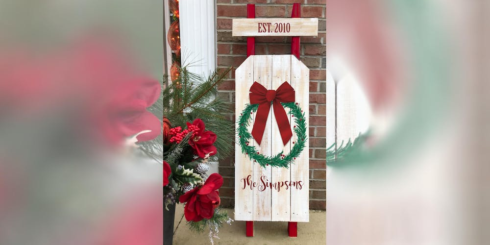 Welcome Christmas.Wooden Welcome Christmas Wreath Sled Creative Paint Sip Maker Class