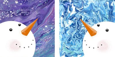 Pair of Pour Painted Snowmen - Creative Paint & Sip Maker Class