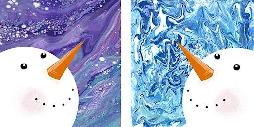 Pair of Pour Painted Snowmen - Creative Paint & Sip Maker Class