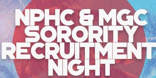 NPHC & MGC Recruitment Night for SORORITIES ONLY Fall 2019