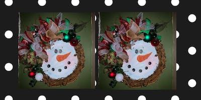 Snowman Wreath Making Class at Peachwave Frozen Yogurt