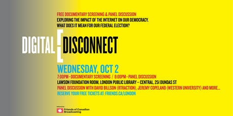 Digital Disconnect - Canadian Media and Sovereignty in the Internet Age tickets