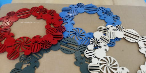 Make Your Own Wooden Christmas WREATH, laser, Fab Lab, holiday
