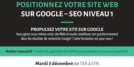 Formation: Positionnez votre site web sur Google – SEO niveau 1 billets