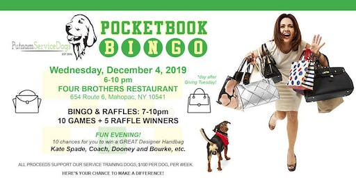 Pocketbook Bingo to Benefit Putnam Service Dogs