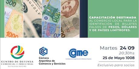 Taller de identificación de billetes falsos entradas