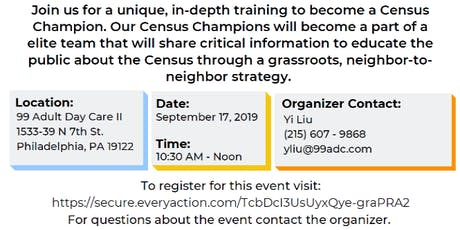 Philly Counts! 2020 Census Champion Training tickets