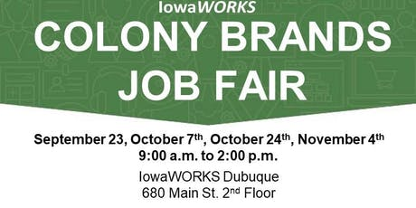 Job Fair for Colony Brands, Inc. at IowaWORKS tickets