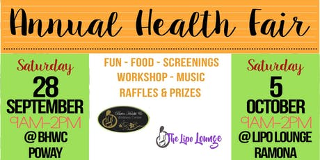 The Lipo Lounge FREE Annual Health Fair & Open House Poway tickets