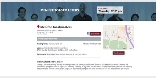 Menifee Toastmasters Meeting