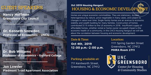 UNCG CHCS October Housing Hangout - Housing and Economic Development