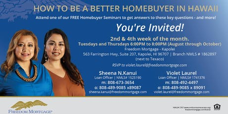 """Be a Better Homebuyer in Hawaii"" Free Seminar tickets"