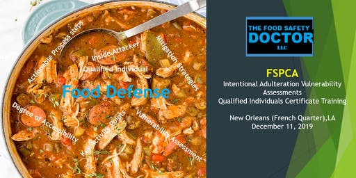 New Orleans LA: FSPCA Food Defense Qualified Individuals (IAVA-QI) Certificate Training