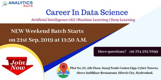 Register Now For Data Science New Weekend Batch from 21ST September, 11:30