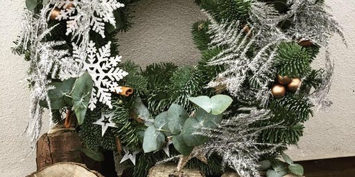 Christmas Door Wreaths  in the gin barn at The Black Lion