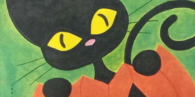 Halloween Cat after school canvas painting party!