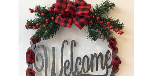 Welcome Decor Hanger - Red Check  (2019-11-30 starts at 2:00 PM)