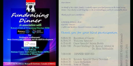 CRRIC-Rotary Charity [CA$60] Dinner for Rohingya Adolescents' Learning  tickets