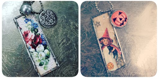 Jewelry Making  Design your own Vintage Halloween and Lace Pendants