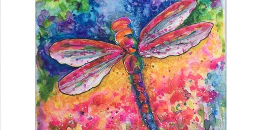 """Adult Watercolor Class   """"Dragonfly"""""""
