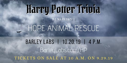 Harry Potter Trivia for Hope Animal Rescue