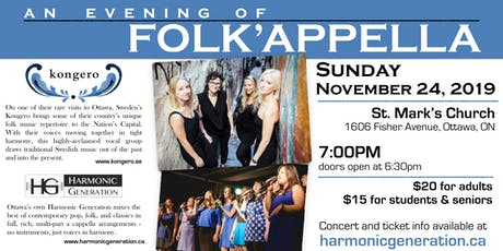 An Evening of Folk'appella - Kongero & Harmonic Generation tickets