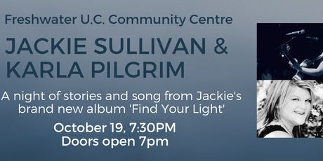 Jackie Sullivan and Karla Pilgrim at Freshwater U.C. Community Centre tickets