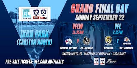 VFL/VFLW GRAND FINALS 2019: VFL (Rich v Will) and VFLW (Bull v Coll) tickets