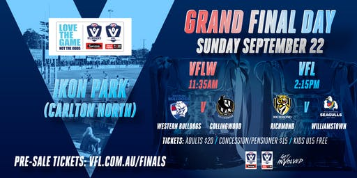 VFL/VFLW GRAND FINALS 2019: VFL (Rich v Will) and VFLW (Bull v Coll)