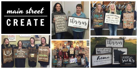 Main Street Create | Farmhouse/Pallet Sign Class | September 28 - 6pm   tickets