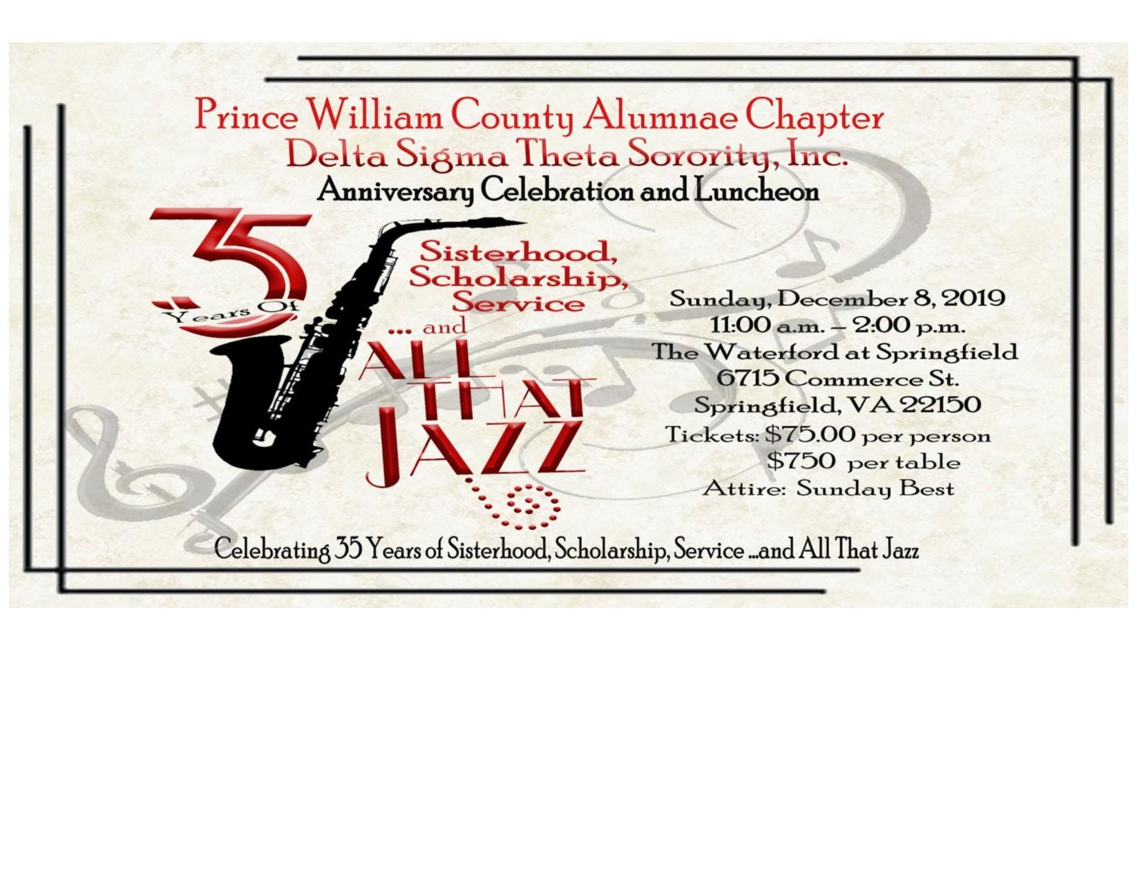 35th Anniversary of Prince William County Alumnae Chapter of Delta Sigma Theta Sorority Inc. Anniversary Luncheon