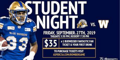 Winnipeg Blue Bombers Student Night tickets