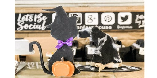 Halloween Black Cat and Witches Hat Decor