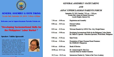 ASPAC GENERAL ASSEMBLY & OATH TAKING and AUPPERCLASSMEN FORUM tickets