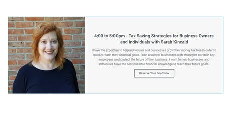 Tax Saving Strategies for Business Owners and Individuals tickets