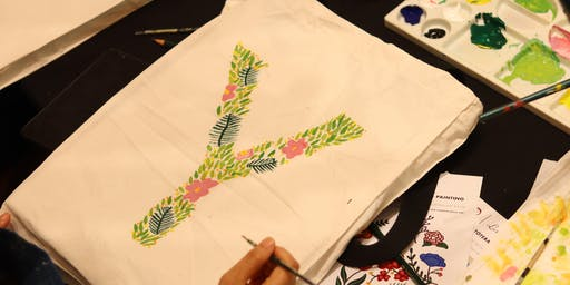 Floral Monogram Tote Bag Painting