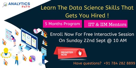 Free Data Science Interactive Session By Analytics Path On 22nd Sep, 10 AM tickets