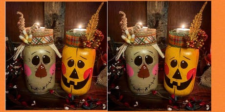 Autumn Mason Jar Tea Light Holder Set-Paint and Sip-VFW Post 491 Yardville tickets