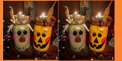 Autumn Mason Jar Tea Light Holder Set-Paint and Sip-VFW Post 491 Yardville