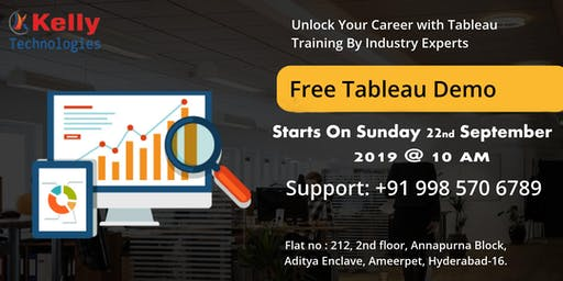 """Free Tableau Demo on """"Careers At The Kelly Technologies"""" On 22nd Sep, 10 AM"""